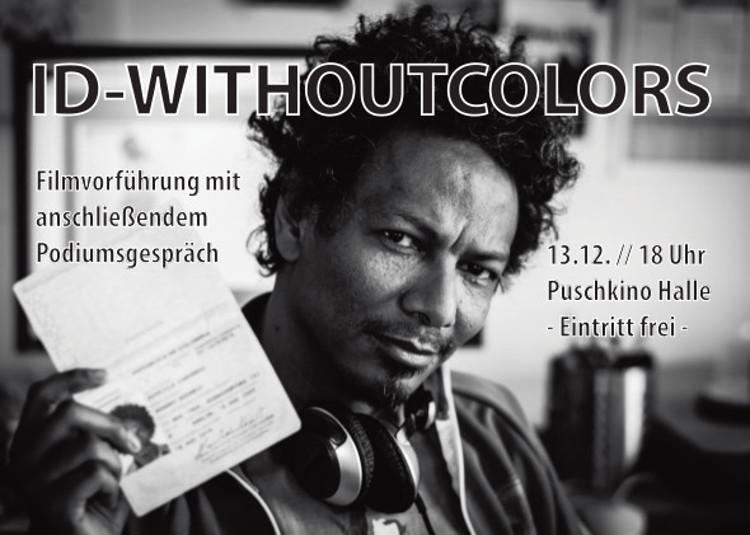 Afrodeutscher hält seinen Pass hoch, Filmtitel ID without Colors