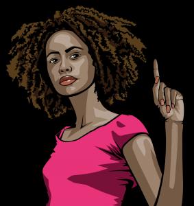 Schwarze Frau erhebt Zeigefinger